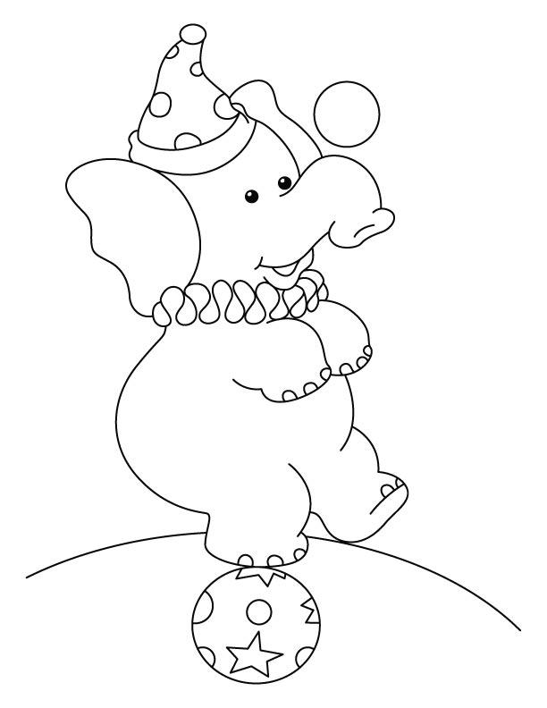 Circus Elephant Coloring Pages 1