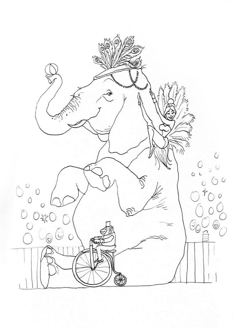 Circus Elephant Coloring Pages 3