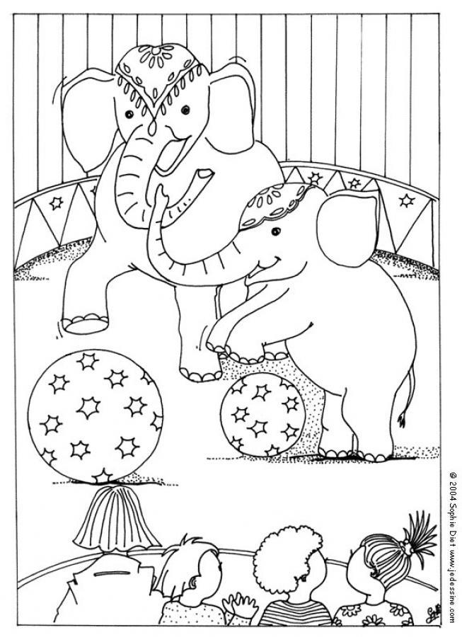 Circus Elephant Coloring Pages For Children 1