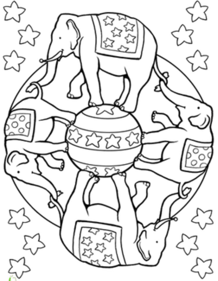 Circus Elephant Mandala Coloring Pages