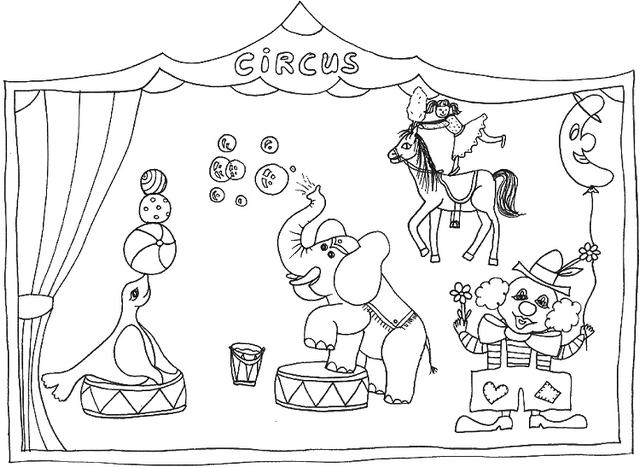 Circus Show Coloring Picture