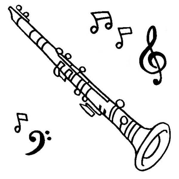 Clarinet Is A Musical Instruments Coloring Pages