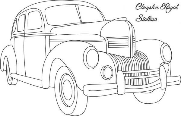 Classic Cars Coloring Pages Chrysler Royal Stallion