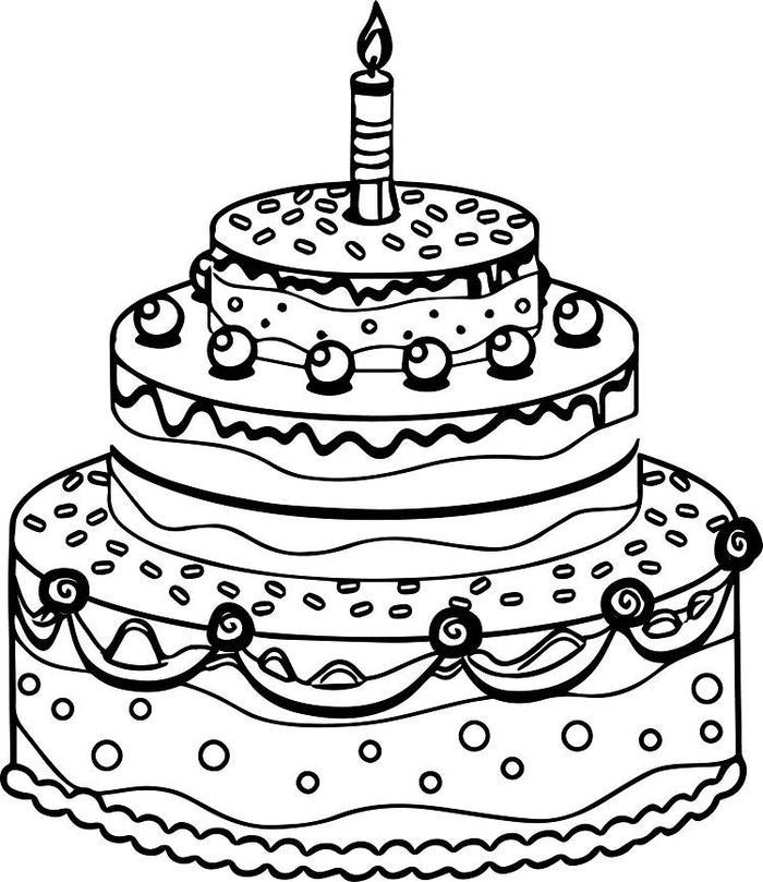 Classy Birthday Cake Coloring Pages