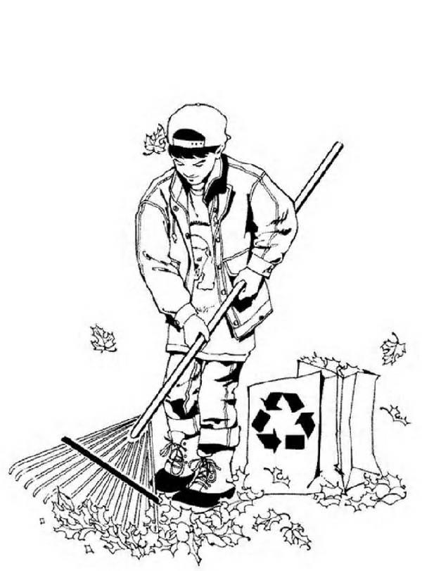 Cleaning Dry Leaves Before Start Gardening Coloring Pages