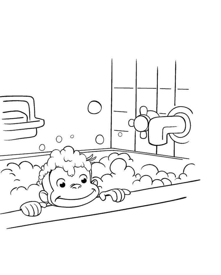 Cleaning Himself Curious George Coloring Pages