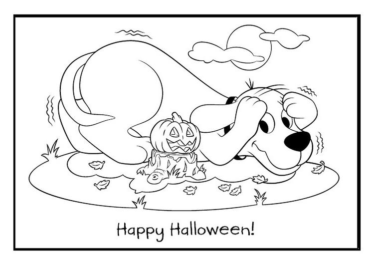 Clifford Halloween Day Printable Coloring Sheet