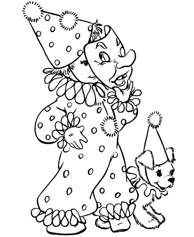Clown Costume Halloween Coloring Pages Print Out