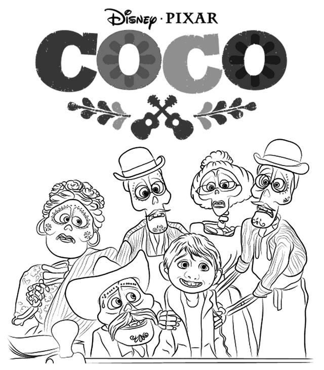 Coco Characters Disney Coloring Page