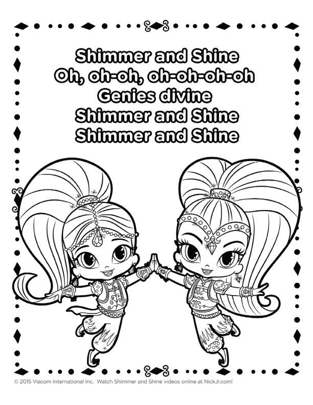 Colorful Shimmer And Shine Coloring Book
