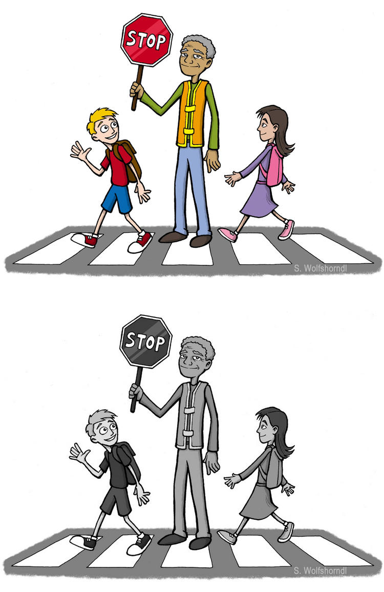 Coloring Page Crossing Guard Of School