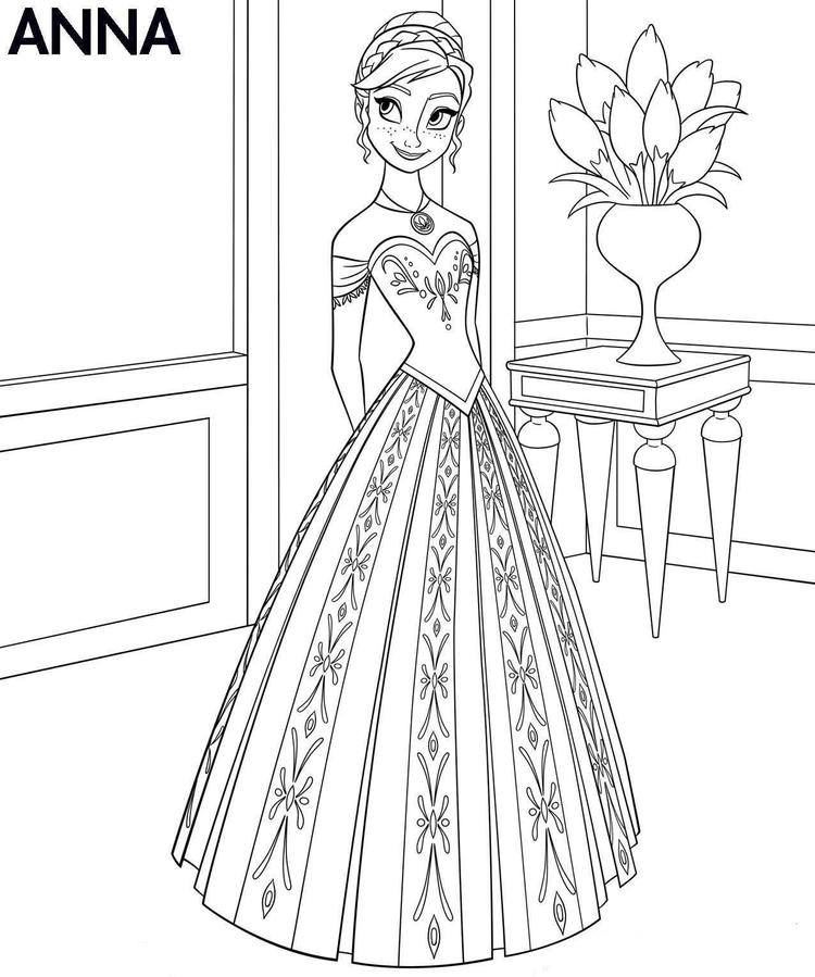 Coloring Page Frozen Anna