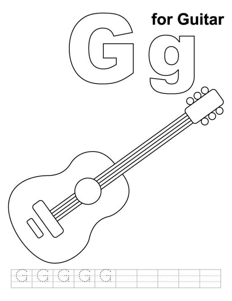 Coloring Pages Alphabet G For Guitar