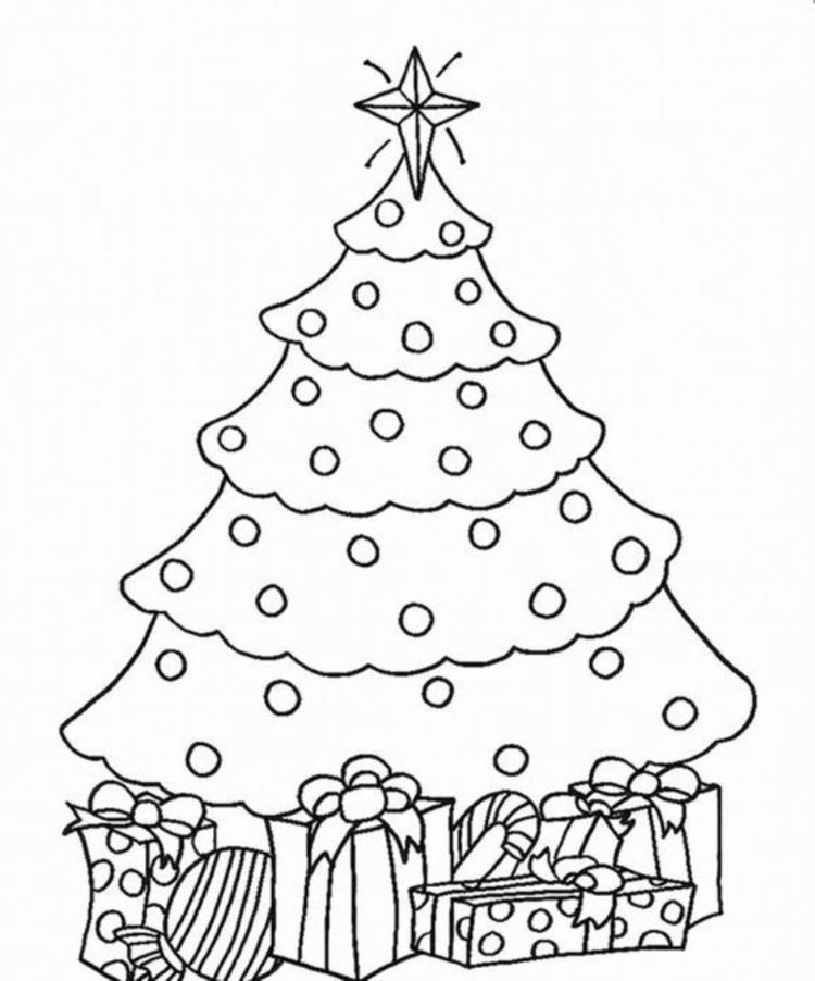 Coloring Pages Christmas Tree And Present