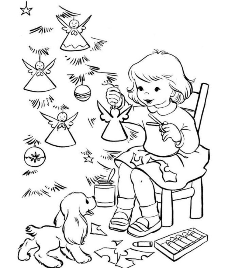 Coloring Pages Christmas Tree Decorating
