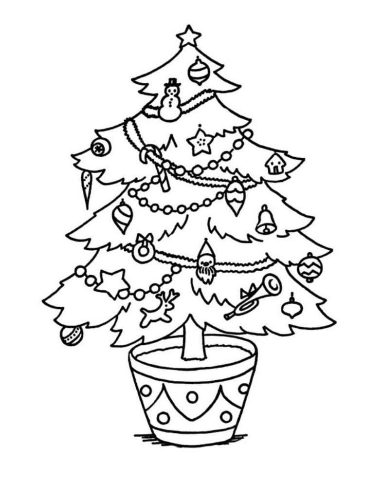 Coloring Pages Christmas Tree For Kids