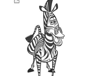 Coloring pages for kids madagascar 2 marty