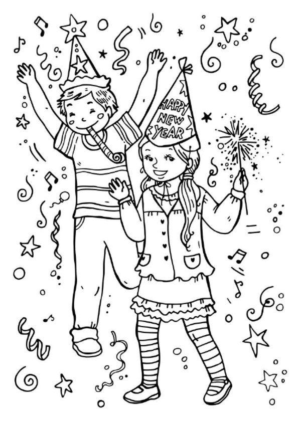 Coloring Pages For Kids New Year Parties