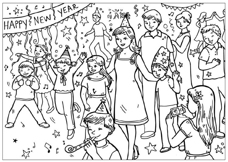 Coloring Pages For Kids New Year Party