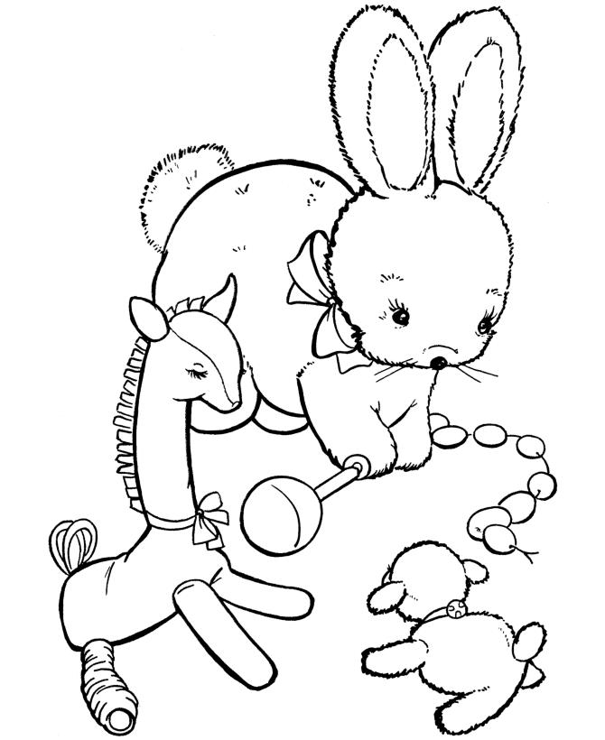 Coloring Pages For Kids Rabbit Playing Toys