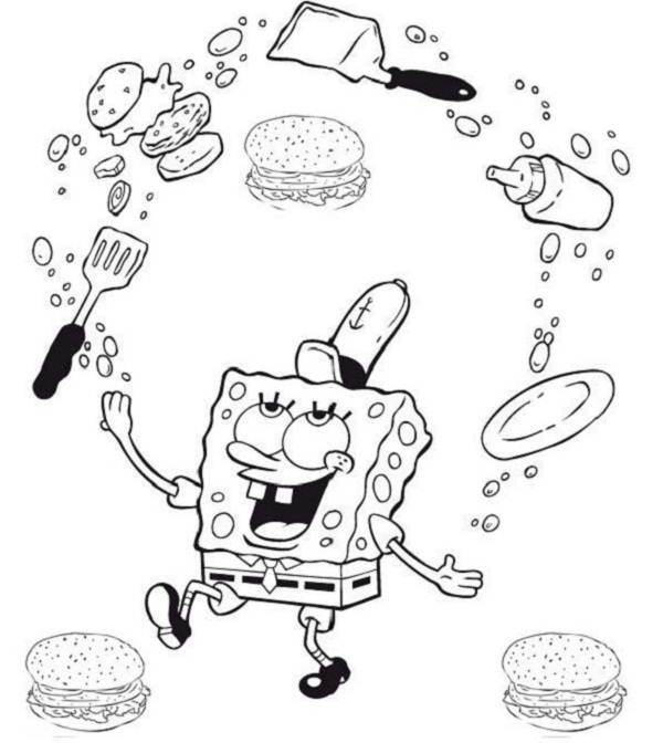 Coloring Pages For Kids Spongebob Krabby Patty