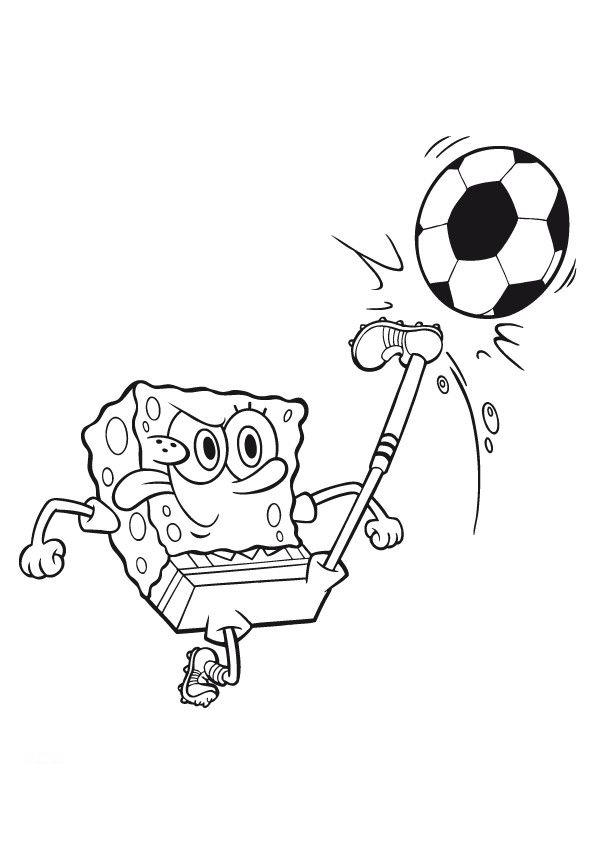 Coloring Pages For Kids Spongebob Playing Football