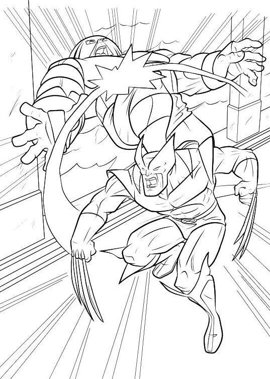 Coloring Pages For Kids Wolverine Fighting