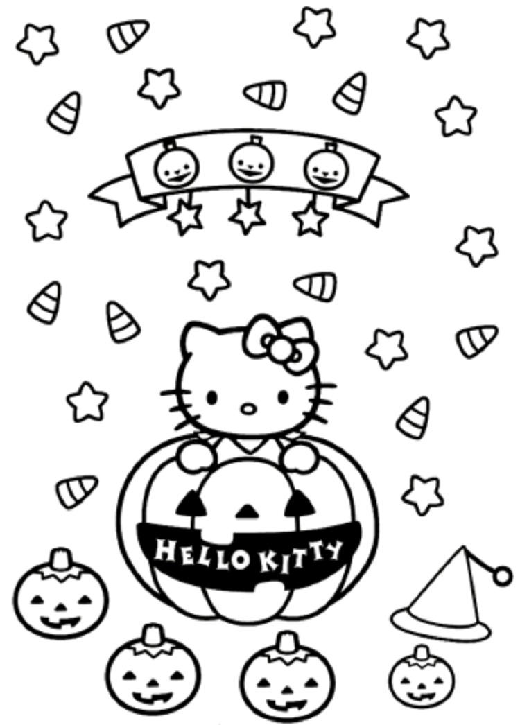 Coloring Pages Of Hello Kitty In Halloween