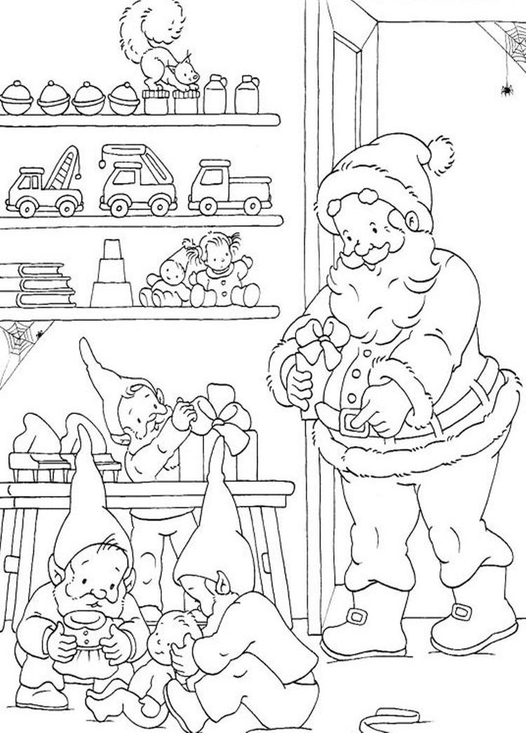 Coloring Pages Of Santa And Elves Preparing The Christmas Presents