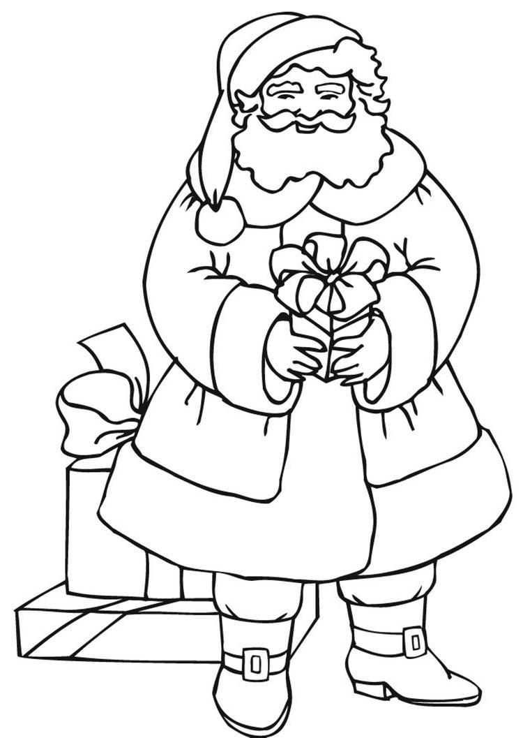 Coloring Pages Of Santa Claus And Gifts