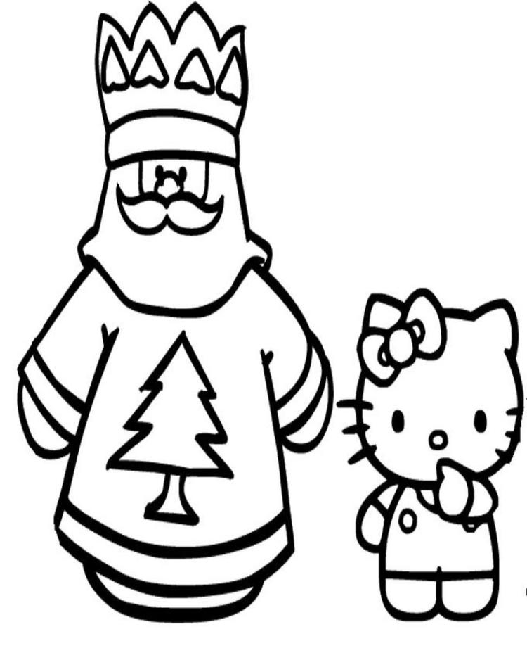 Coloring Pages Of Santa Claus And Hello Kitty
