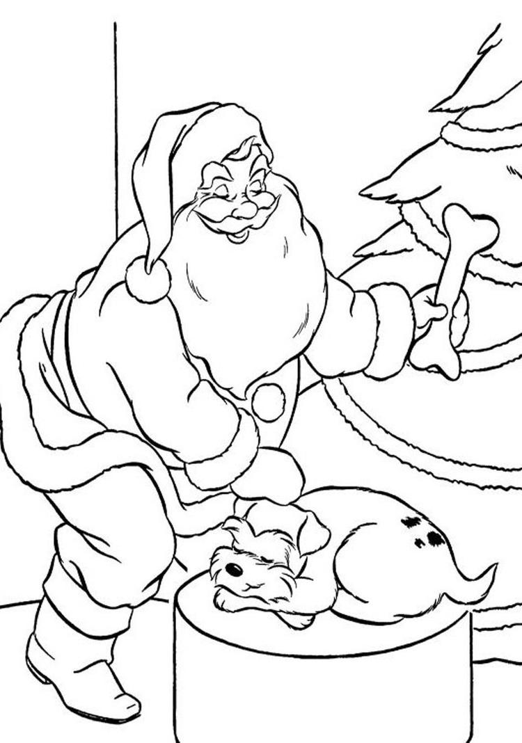 Coloring Pages Of Santa Claus And Puppys Present