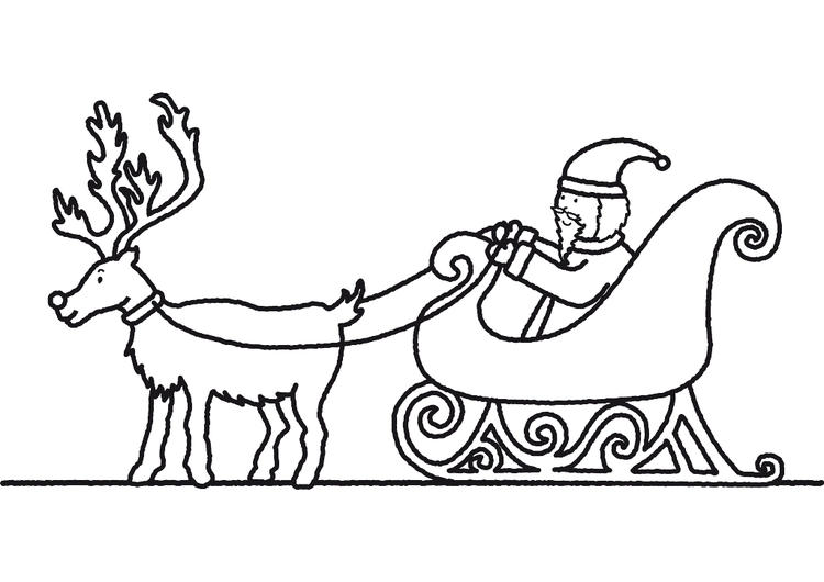 Coloring Pages Of Santa Claus And Sleigh