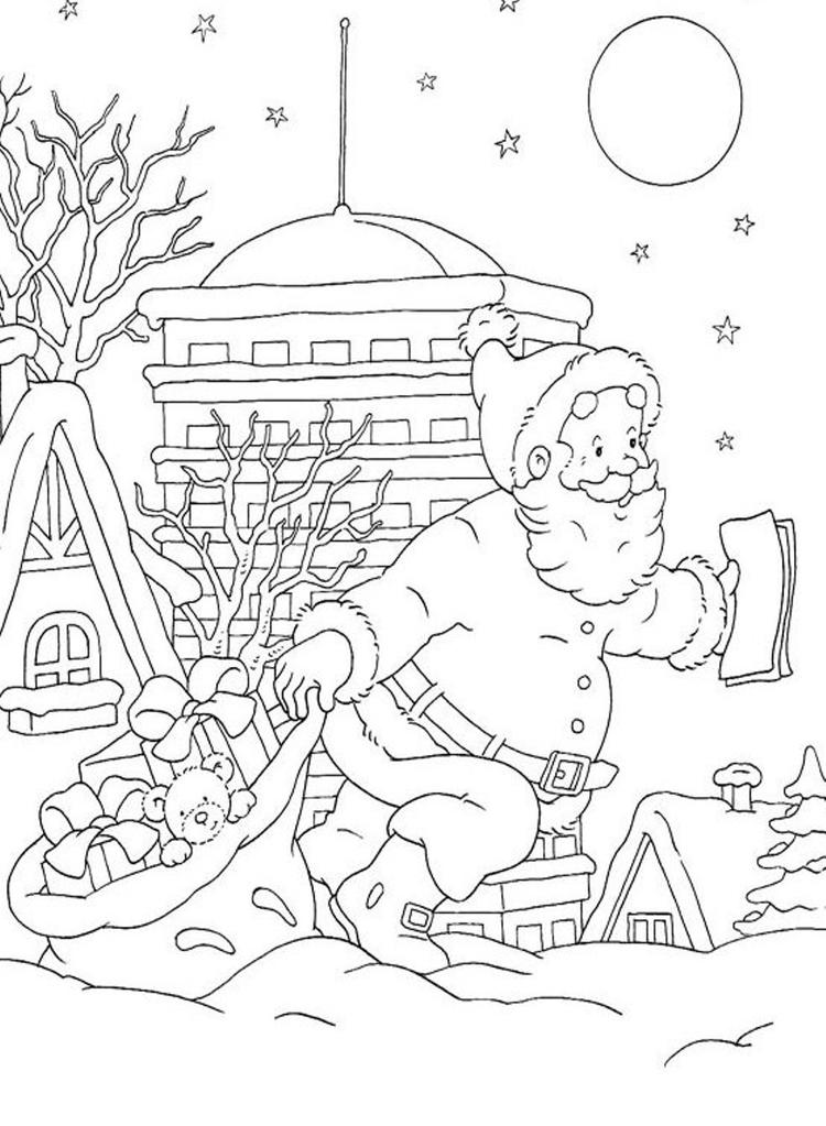 Coloring Pages Of Santa Claus Doing His Job