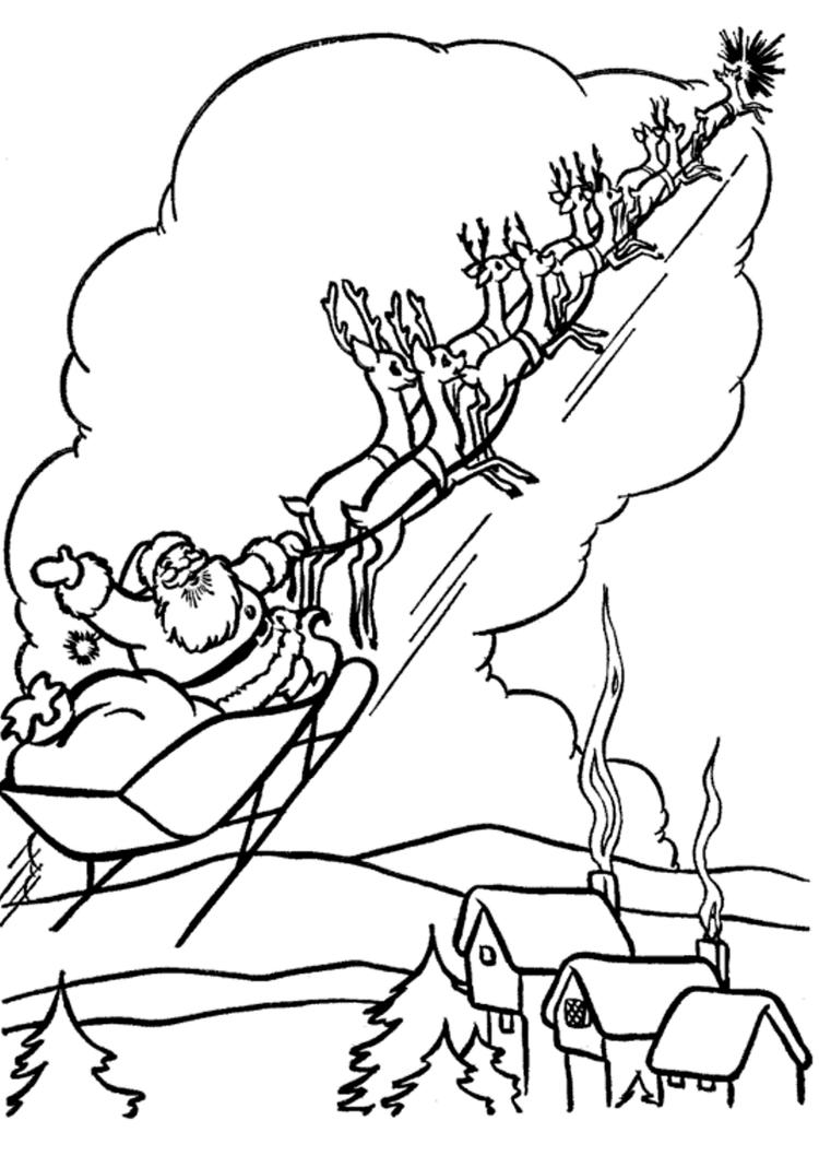 Coloring Pages Of Santa Claus Flying