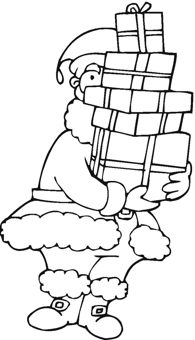 Coloring Pages Of Santa Claus Gives You Presents