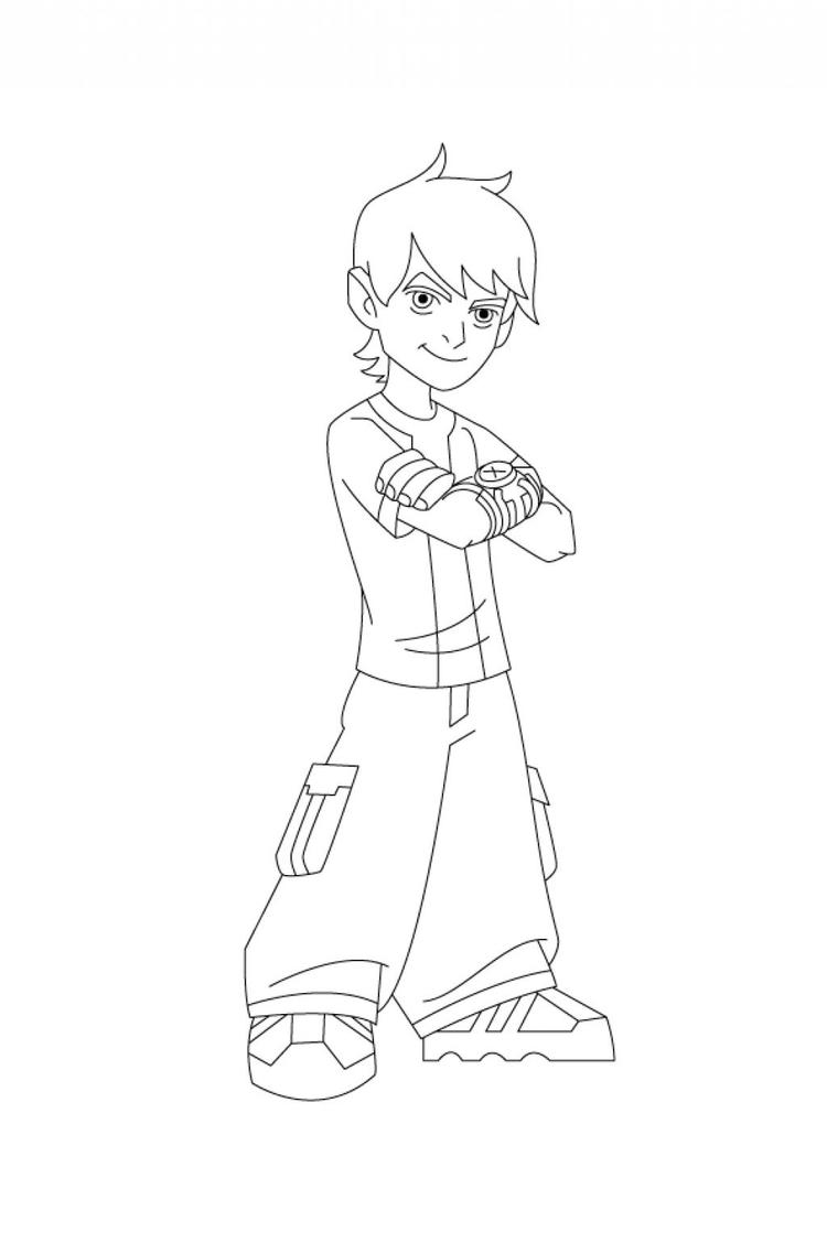 Coloring Pages Printable Ben 10 Kid