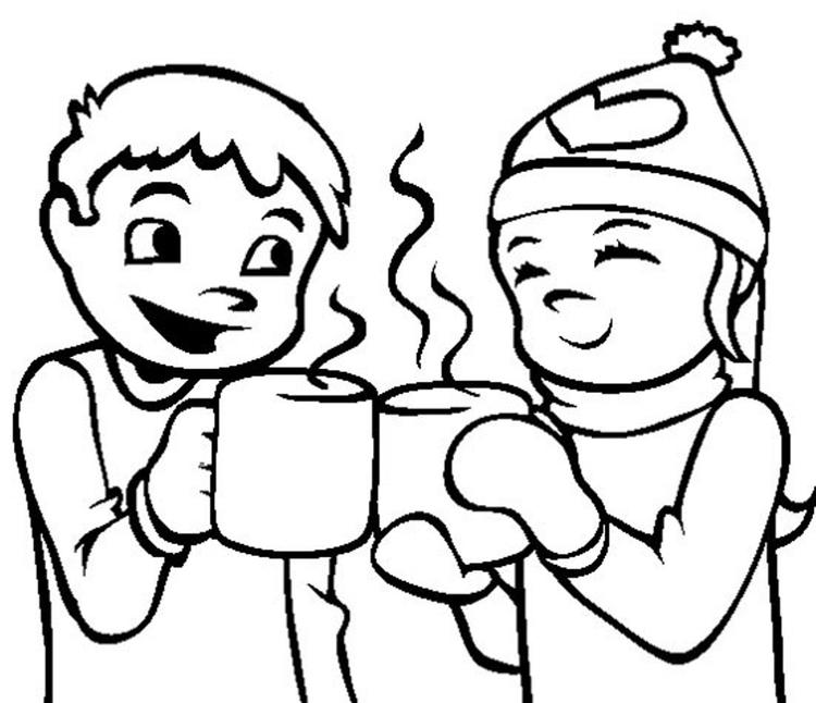Coloring Pages Winter Hot Chocolate