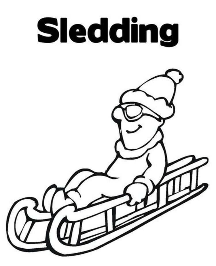 Coloring Pages Winter Sledding Fun
