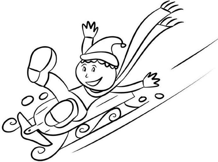 Coloring Pages Winter Sledding