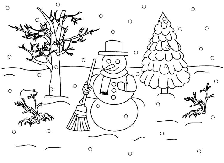 Coloring Pages Winter Snowman On Snow Rain