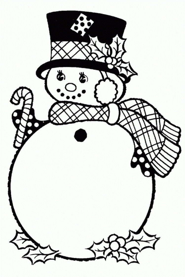 Coloring Pages Winter Snowman With Hat