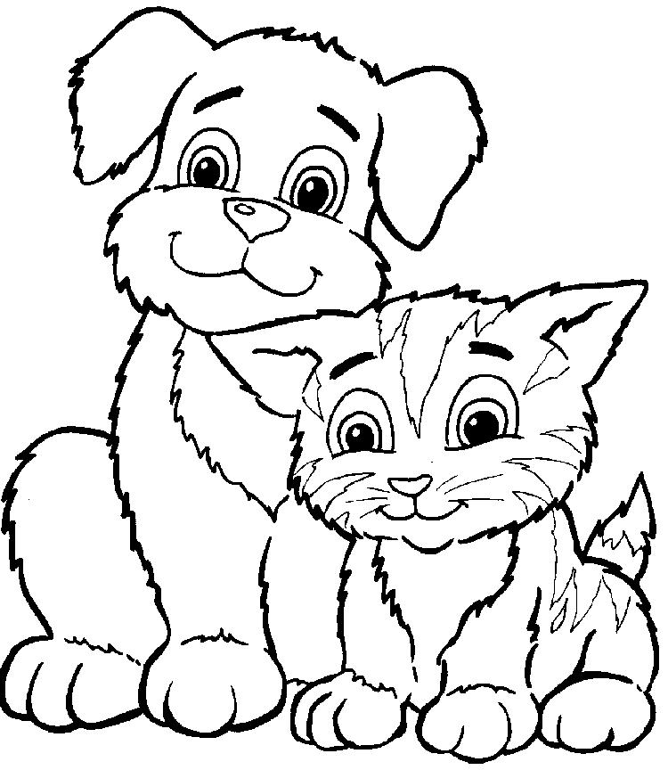Coloring Pages With Dogs And Cats
