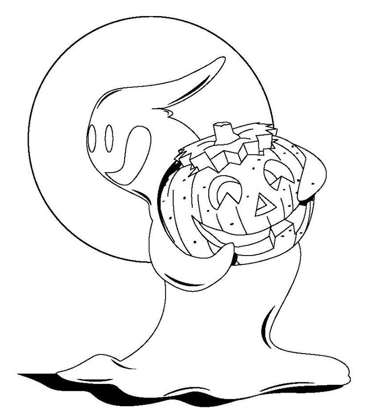 Coloring Pages With Pumpkin And Ghost For Halloween