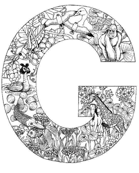 Coloring Pages Animal Plant Abc Alphabet G