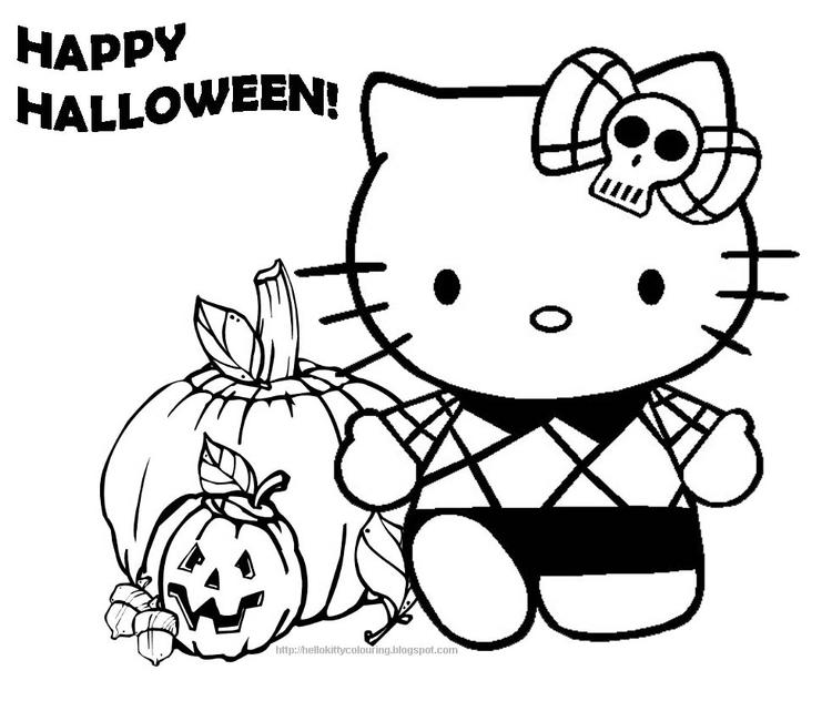 Combined Halloween With Hello Kitty Coloring Pages