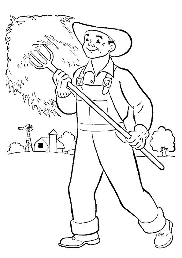 Community Helpers Coloring Pages Farmer