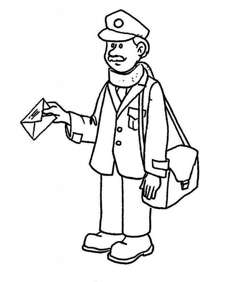 Community Helpers Coloring Pages Postman