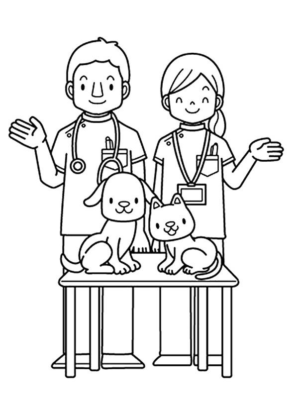 Community Helpers Coloring Pages Veterinarians