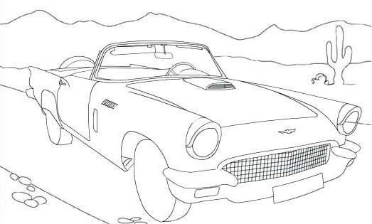Convertible Car With Beautiful Scenery Coloring Page For Kids
